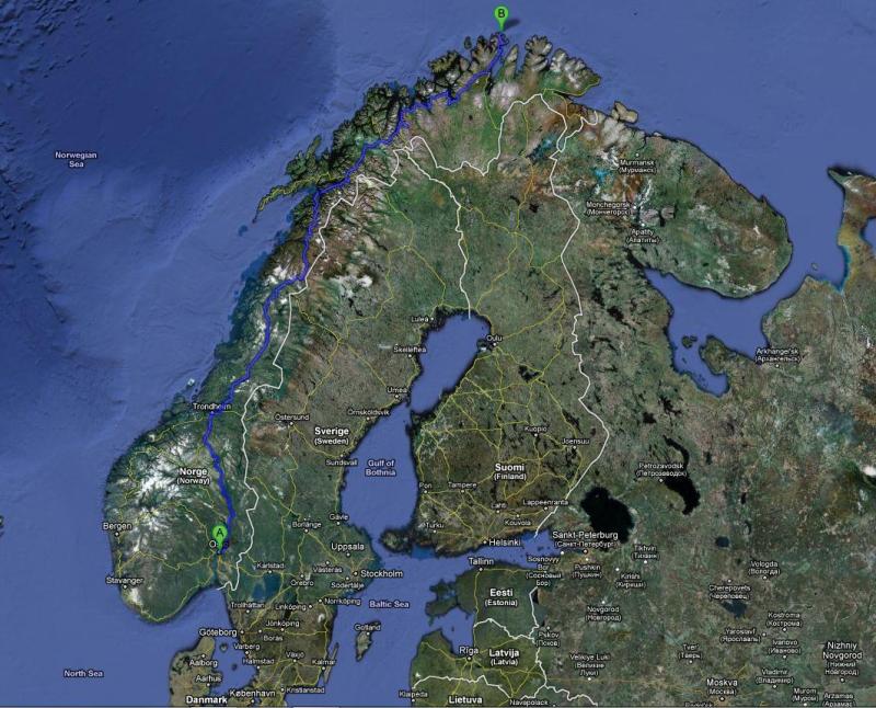 Nordkap Trip die Route