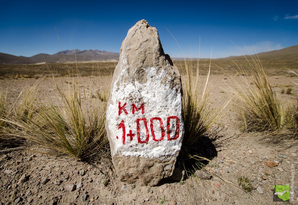 Steinschild vom 1+Kilometern